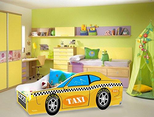 Lit enfant voiture Taxi jaune sommier+matelas 140 x 70 cm