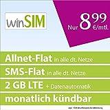 winSIM LTE All 2 GB [SIM, Micro-SIM und Nano-SIM] monatlich kündbar (2 GB LTE-Internet mit max. 50 MBit/s + Datenautomatik, Telefonie-Flat, SMS-Flat, 8,99 Euro/Monat) O2-Netz