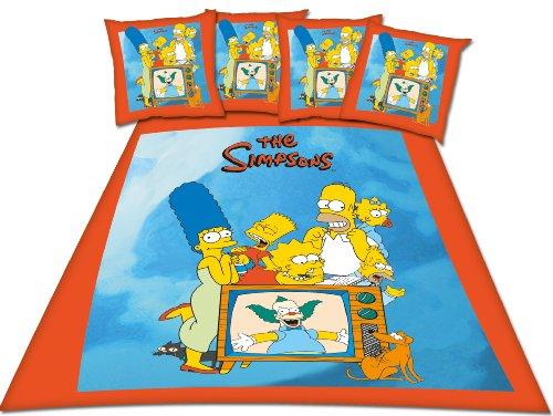 Simpsons Family - Set copripiumino matrimoniale 200 x 200 cm e 2 federe 65 x 65 cm, 100% cotone