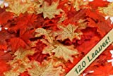 120 Mixed Fall Colors Silk Maple Leaves - Great Autumn Table Scatters