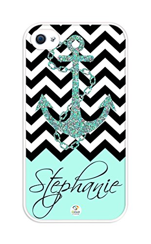 Izercase Personalized Black Turquoise And White Chevron Pattern With Anchor Rubber Iphone 4 Case - Fits Iphone 4 & Iphone 4S T-Mobile, Verizon, At&T, Sprint And International (White)
