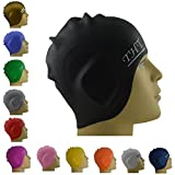 #1 Long Hair Silicone Swim Cap - Perfect To Keep Hair Dry - The Amazing Swimming Caps With Beautiful Design Highly Elastic & Large Stretch - Suitable For Girls With Long Hair - Greater Durability Than Latex Swimming Caps - Unisex Women and Men - Eco-Frien