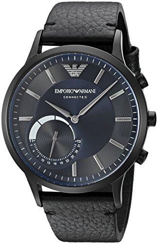 Emporio Armani Men's ART3004 Black Leather Connected Hybrid Smartwatch