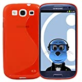 ITALKonline Samsung i9300i Galaxy S3 Neo III Red TPU S Line Wave Hybrid Gel Skin Case Protective Jelly Cover