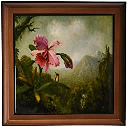 3dRose ft_163198_1 Image of Heades Vintage Painting of Orchid, Hummingbird and Mountain Framed Tile, 8 by 8-Inch