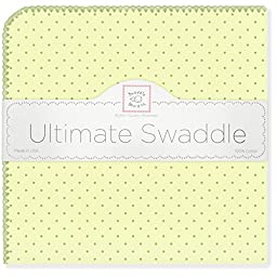 SwaddleDesigns Ultimate Receiving Blanket, Pastel Polka Dots, Kiwi