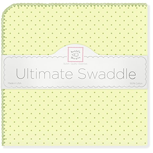 SwaddleDesigns Ultimate Receiving Blanket, Pastel Polka Dots, Kiwi