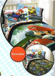 Mario Kart Road Rumble 5pc Full Comforter and Sheet Set Bedding Collection