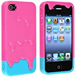 Angelina(TM) iPhone 4 4S Case - Removable Pink 3D Melt ice Cream Skin Hard Case Cover for Apple iPhone 4 iPhone 4S