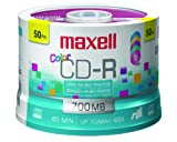 CD-R Discs, 700MB/80min, 48x, Spindle, Assorted Colors, 50/Pack