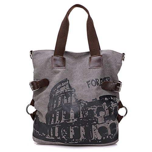 BYD - Donna Large Bag Borse a spalla Mutil Pocket Design Bag Crossbody Bag Borse Tote Borse a mano Canvas with Rome Arena Picture