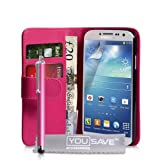 Samsung Galaxy S4 Case Hot Pink PU Leather Wallet Cover And Stylus Pen