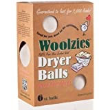 Woolzies, Wool Dryer Ball, set of 6 ,Natural Fabric Softener