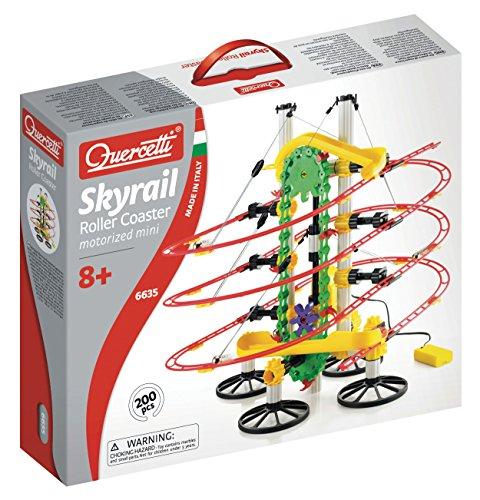 Quercetti QA6635 Syrail Roller Coaster - Juego de construcción de circuito de canicas motorizado (200 piezas)