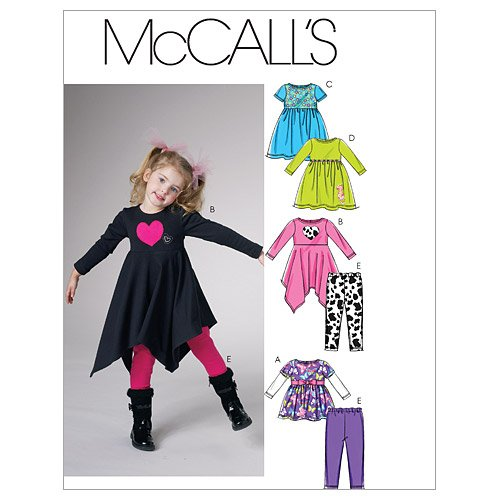 McCall's Patterns M6155 Children's/Girls' Tops, Dresses and Leggings, Size CL (6-7-8)