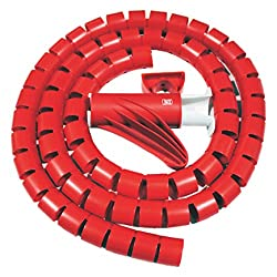 MX CABLE ORGANIZER CABLE MANAGEMENT WIREMESH EASY CABLE COVER 28MM - 1.5 METERS - MX 2696B - RED
