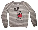 Disney Mickey Mouse Striped Juniors Fashion Knit Crewneck Sweatshirt