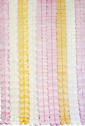 Lovarin 9pcs Hanging Garland Four-Leaf Clover Garland Tissue Paper Flowers Party Streamers for Wedding Decorations Birthday Party Décor Baby Shower Pink&White&Peach (11.81 Feet/3.6M) (Peach Party Streamer compare prices)