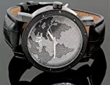 Super Techno Mens Diamond World Map Watch 0.10ct