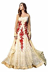 SK creation Gorgeous Beige Heavy Embroidered Party Wear Gown