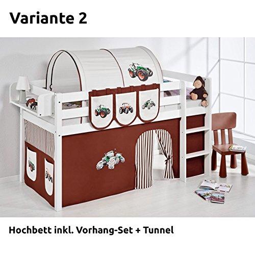 Hochbett Spielbett JELLE Trecker Braun Beige mit Vorhang, weiß, Variante 2 günstig online kaufen
