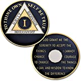 """1 Year - AA Chip Proof-like Bronze with Tri-Plate - Gold, Nickel, and Blue Enamel - 1 3/8"""" [Traditional Coin Size]"""
