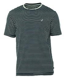 Nautica Men\'s Knit Short Sleeve Pinstripe Tee, Peacoat, X-Large
