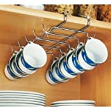 Wenko 2748130100 28 x 5 x 22 cm Chrome Cupboard Fitting Cup Holder for 10 Cups