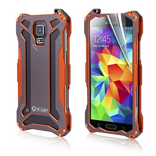 Aestar® Premium Ultra Thin Coolest Ironman Shockproof Metal Case Front And Back Protective Cover With Tempered Glass Screen Protector Lanyard Screws & Screwdriver Cleaning Tools For Samsung Galaxy S5 I9600 (Orange)