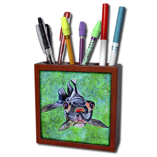 Ph_46714_1 Taiche - Acrylic Painting - Fish - Black Moor Goldfish - Black Moor Goldfish, Telescope Goldfish, Goldfish, Dragon Eye Goldfish - Tile Pen Holders-5 Inch Tile Pen Holder