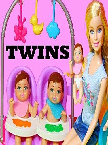 Barbie Baby TWIN Babysitter Babysitting Color Change Boy Girl Feeding Babies Barbie Doll Video