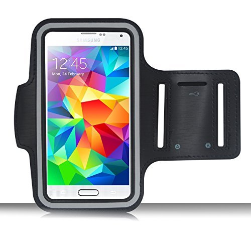 AiGoo Reflective Sports Armband Case for Samsung Galaxy S3 S4 S5 and HTC One M7, Easy Fitting [Sport Gym Bike Cycle Jogging Running Walking] Protective Sports Band Case[Lifetime Warranty]- Sweat Resistant, Washable, Breathable Padding, Key Holder, Light Weight & Adjustable - For Men and Women Black (Sport Case Samsung S3 Mini compare prices)