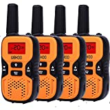 UOKOO Kids Walkie Talkies, 22 Channel FRS/GMRS 2 Way Radio 2 miles (up to 3.7 Miles) UHF Handheld Walkie Talkies for Kids ( 4 Pack ) Orange