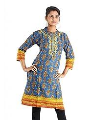 Indiankala4u Cotton Straight Kurta In Ethnic Prints - B00NRSOGAC