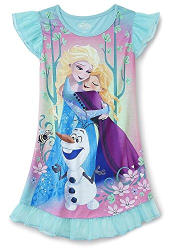 Disney Anna, Elsa and Olaf Sparkly Frozen Nightgown, Girls Sizes 4-12