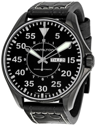 Hamilton Men's H64785835 Khaki King Pilot Black Dial Watch