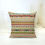 Loool Europe 18 By 18 Inches Cotton Linen Retro Vintage Chevron Striped Home Decorative Throw Pillow Cover Pillow Case Pillowcase Cushion Cover Pillow Sham (Striped 4)