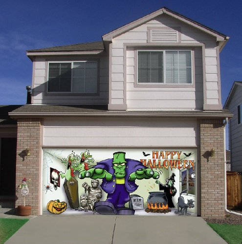 Frank and friends outdoor halloween holiday garage door for Christmas garage door mural