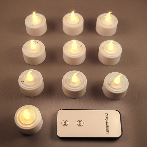 Remote Control Battery Operated Led Tea Light Candles- Amber 10 Ct