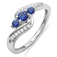 buy 14K White Gold Round Blue Sapphire And White Diamond Ladies Swirl Engagement 3 Stone Ring (Size 7)