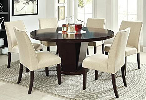 7 pc Cimma collection contemporary style espresso finish wood round pedestal dining table set with lazy susan
