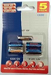 C63® - [Pack of 5] Battery Assortment A27 12v Battery, E23A 12v + N LR1 1.5v Alkaline Batteries. Bulk Pack