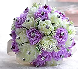 High Quality Romantic 15 Pcs of Rose Artificial Purple Wedding Bouquet of Flowers High Imitation Pearls With