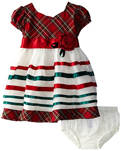 Bonnie Baby Baby-Girls Infant Taffeta Plaid Organza Dress, Red, 18 Months front-946869