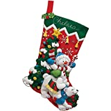 Bucilla 18-Inch Christmas Stocking Felt Applique Kit, Polar Bear