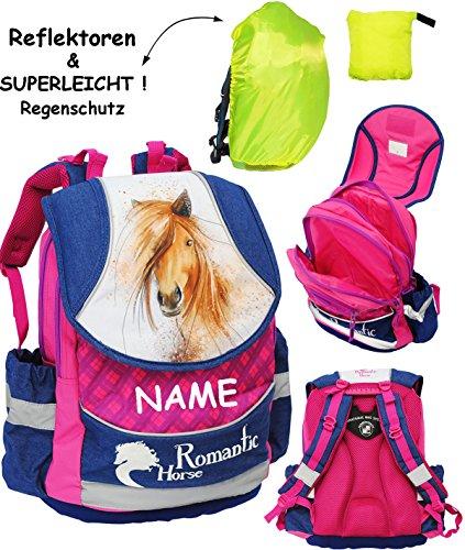 2-tlg-Set--Schulranzen-Rucksack-Pferd-Romantic-Horse-incl-Name-Regenschutzhlle-SUPERLEICHT-ergonomisch-anatomisch-groer-Schulrucksack-mit-Reflektor-Tasche-wasserfest-beschichtet-Ergo-Ranzen-Tornister-