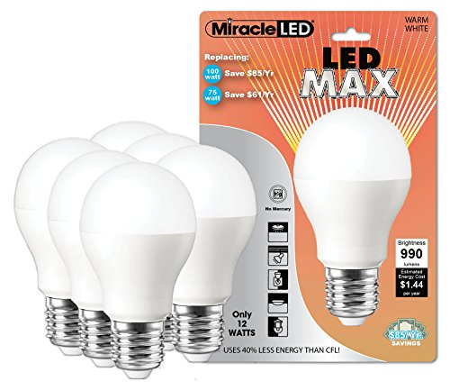 Miracle Led 604719 12-Watt Led Max Bulb 990 Lumens Perfect A19 Household Replacement Light, Warm White, 6-Pack