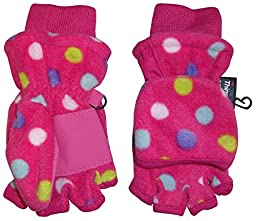 N\'Ice Caps Big And Little Kids Thinsulate Lined Converter Fingerless Glove To Mitten (7-9yrs, Polka Dot Print)