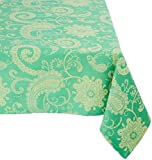 Mahogany T416T120 Rectangle Jaisalmer Jacquard Tablecloth, 60 by 120-Inch, Green/Yellow