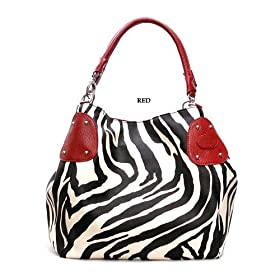 Red Large Zebra Print Faux Leather Satchel Bag Handbag